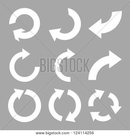 Rotate Clockwise vector icon set. Collection style is white flat symbols on a silver background. Rotate Clockwise icons.