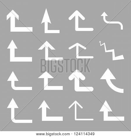 Turn Forward vector icon set. Collection style is white flat symbols on a silver background. Turn Forward icons.