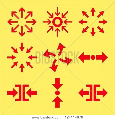 Compress and Explode Arrows vector icon set. Collection style is red flat symbols on a yellow background. Compress And Explode Arrows icons.