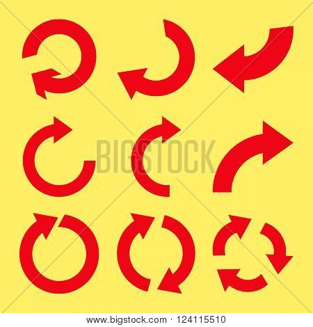 Rotate Clockwise vector icon set. Collection style is red flat symbols on a yellow background. Rotate Clockwise icons.