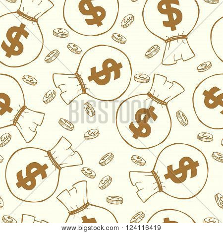 Seamless pattern with money hand sketched coins and money bags with dollar signs on them. Tiling financial backdrop.