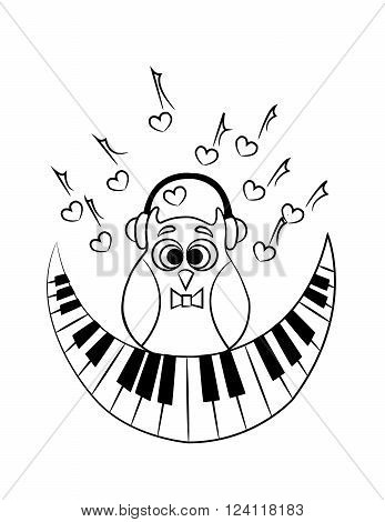 coloring with owl with headphones and with an abstract piano as a month. vector