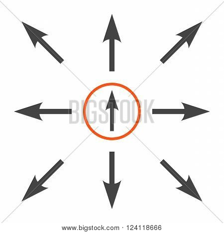 Directions vector icon set. Collection style is bicolor orange and gray flat symbols on a white background. Directions icons.