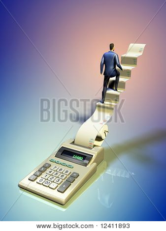 Businessman climbing some stairs coming out of a printer calculator. Digital illustration.
