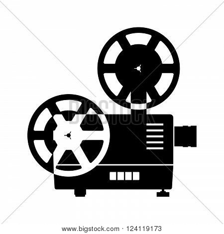 Old overhead projector on white background, shade picture