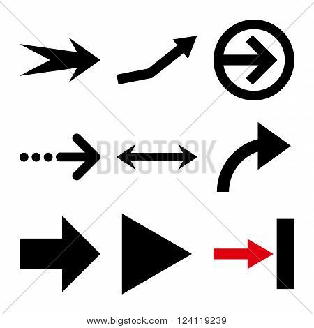 Direction Arrows vector icon set. Collection style is bicolor intensive red and black flat symbols on a white background. Direction Arrows icons.