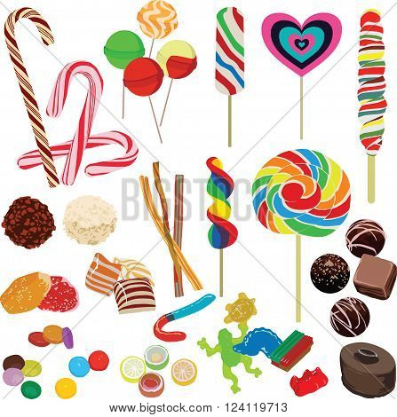 many different candies on a white background