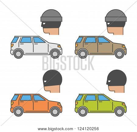Vector set icons auto theft. Modern isolated symbol car theft. Line design concept auto insurance and car insurance theft auto.