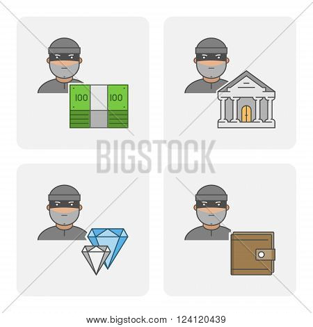 Modern icon bank theft. Vector symbol of stealing money. Linear icon stolen purse. Flat character stealing jewelry.