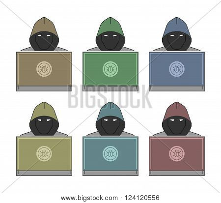 Modern icon of hackers and cybercriminals. Symbol of crimes on the Internet.
