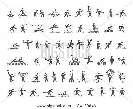 Vector sports icons set. Hatching shapes athletes for popular sports. Cool icons sportsmen. Vector pencil figures sportsmen.