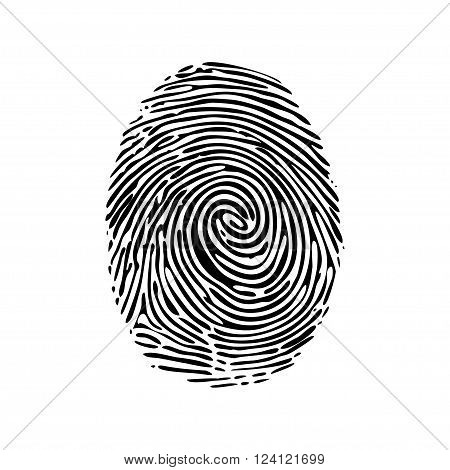 Realistic fingerprint isolated on a white background. Fingerprint icon. Black fingerprint. Vector fingerprint.