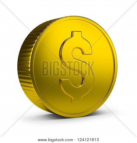 Gold coin. 3d image. Isolated white background.