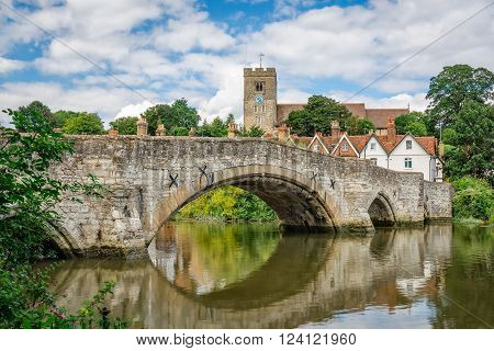 Rural Kent. View of Aylesford village in Kent, England with medieval bridge and church.