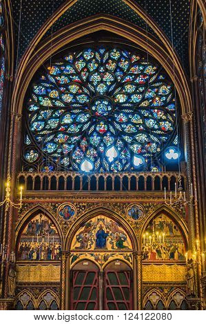 Paris, France - April 18, 2013: Interior of Sainte-Chapelle in Paris. The Chapel was built in 1248 by King Louis IX of France to house Passion relics, including Christ's Crown of Thorns - one of the most important relics in medieval Christendom.