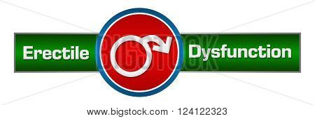 Erectile dysfunction concept image with symbol on red background.