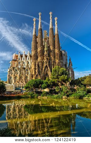 Barcelona, Spain - September 24, 2015: Cathedral of La Sagrada Familia. It is designed by architect Antonio Gaudi and is being build since 1882.