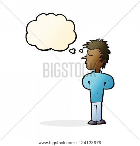 cartoon man ignoring with thought bubble