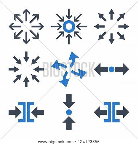 Compress and Explode Arrows vector icon set. Collection style is bicolor smooth blue flat symbols on a white background. Compress And Explode Arrows icons.