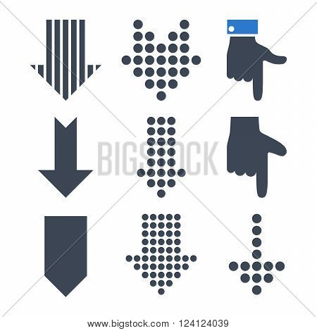 Pointers Down vector icon set. Collection style is bicolor smooth blue flat symbols on a white background. Pointers Down icons.
