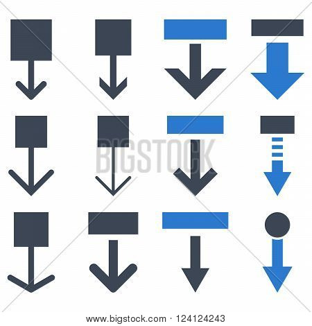 Pull Down vector icon set. Collection style is bicolor smooth blue flat symbols on a white background. Pull Down icons.