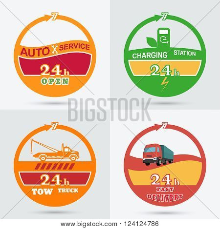 Auto service emblem. Tow truck emblem. Wrecker icon. Auto charging station emblem. Fast delivery icon. Design can be used as a logo a poster advertising singboard. Vector element of graphic design
