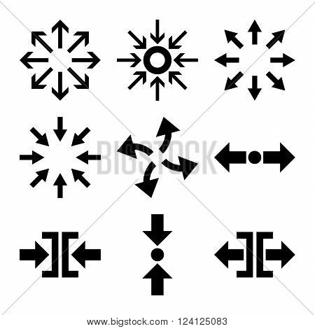 Compress and Explode Arrows vector icon set. Collection style is black flat symbols on a white background. Compress And Explode Arrows icons.