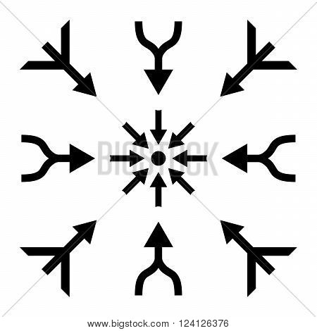 Merge Arrows vector icon set. Collection style is black flat symbols on a white background. Merge Arrows icons.