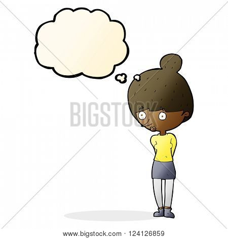 cartoon woman staring with thought bubble