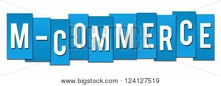 Mobile commerce concept image with m commerce text over blue background.