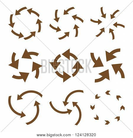 Cyclone Arrows vector icon set. Collection style is brown flat symbols on a white background. Cyclone Arrows icons.
