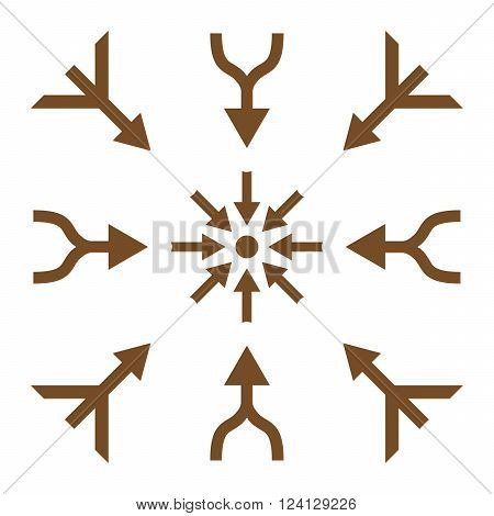 Merge Arrows vector icon set. Collection style is brown flat symbols on a white background. Merge Arrows icons.