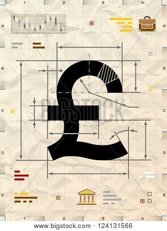 Pound sign as technical blueprint drawing. Drafting of money symbol on crumpled kraft paper. Qualitative vector illustration for banking financial industry economy accounting etc. It has transparency blending modes gradients