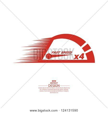Vector speedometer scale. Concept of speed and acceleration. Vector element of graphic design