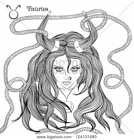 Zodiac. Vector illustration of the astrological sign of Taurus as a beautiful girl with long hair. Lineart for coloring book page
