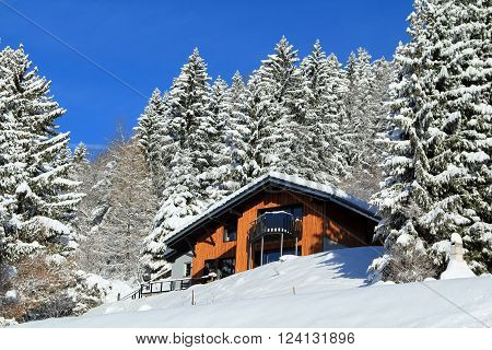 Traditional alpine cabin in the mountains of the Swiss Alps, Switzerland.