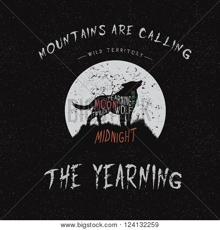 Vintage label.Wolf howling at the moon.Typography design for t-shirts