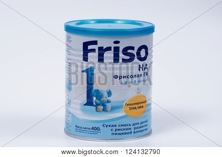 Saransk, Russia - April 2, 2016: Friso HA 400g Powder Can on a white background.