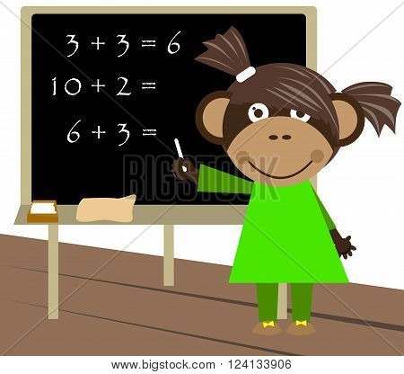 Little monkey counting and writing down the outcome on blackboard.