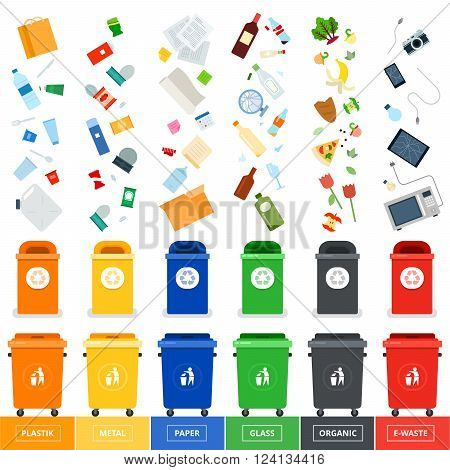 Garbage cans vector flat illustrations. Many garbage cans with sorted garbage. Sorting garbage. Ecology and recycle concept. Trash cans isolated on white background
