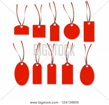 collection of different red hang tags with white frame