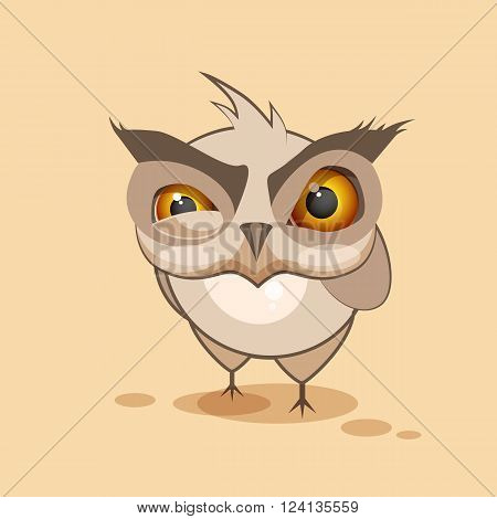 Vector Stock Illustration isolated Emoji character cartoon owl sticker emoticon with angry emotion for site, infographics, video, animation, websites, e-mails, newsletters, reports, comics