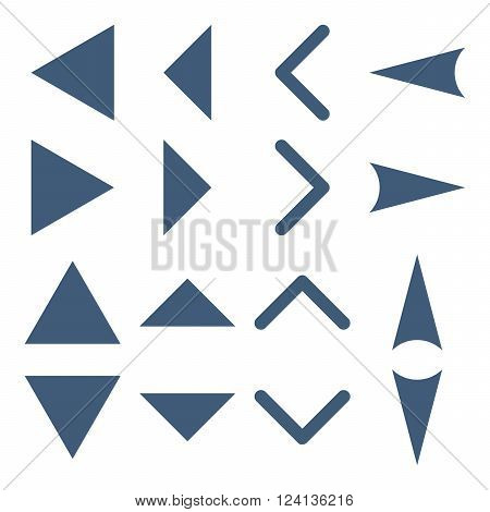 Arrowheads vector icon set. Collection style is blue flat symbols on a white background. Arrowheads icons.