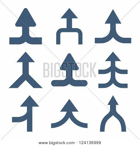 Merge Arrows Up vector icon set. Collection style is blue flat symbols on a white background. Merge Arrows Up icons.
