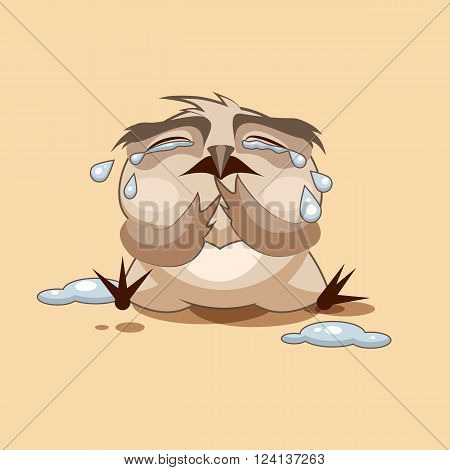 Vector Stock Illustration isolated Emoji character cartoon owl crying, lot of tears sticker emoticon for site, infographics, video, animation, websites, e-mails, newsletters, reports, comics