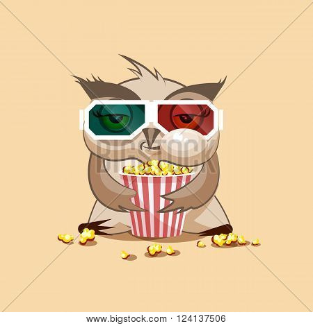 Vector Stock Illustration Emoji character cartoon owl chewing popcorn, watching movie in 3D glasses sticker emoticon for site, infographic, video, animation, website, e-mail, newsletter, report, comic