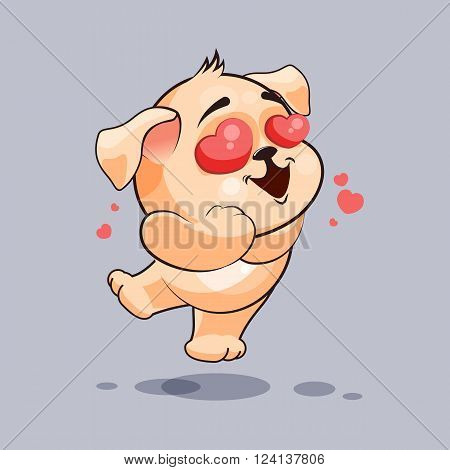 Vector Stock Illustration isolated Emoji character cartoon dog in love flying with hearts sticker emoticon for site, infographics, video, animation, websites, e-mails, newsletters, reports, comics