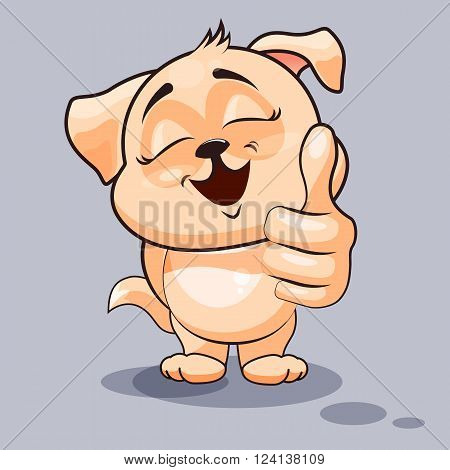 Vector Stock Illustration isolated Emoji character cartoon dog approves with thumb up sticker emoticon for site, infographics, video, animation, websites, e-mails, newsletters, reports, comics poster