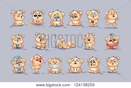Set Vector Stock Illustrations isolated Emoji character cartoon dog stickers emoticons with different emotions for site, infographics, video, animation, websites, e-mails, newsletters, reports, comics