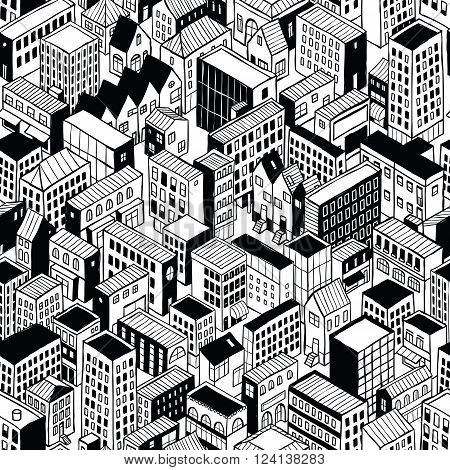 City Seamless Pattern (small) is isometric doodle drawing of different building's types. Illustration is in eps8 vector mode pattern is repetitive.
